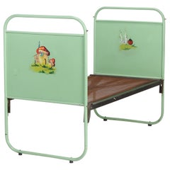 Hand Painted Steel Kids Bed Russia, 1920s
