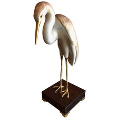 Hand Painted Stylized Stork Sculpture by Giulia Mangani for Oggetti