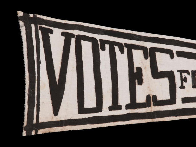 American Hand Painted Suffragette Pennant with Strong Graphics For Sale