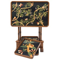 Hand Painted Teak Folding Table, Nesting Trays, Base with Faux Bamboo Legs