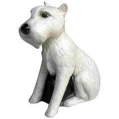 Hand Painted Terrier Ceramic 'Snowy' Dog Sculpture, Gaggini Silvio, Italy, 1960s