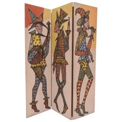 Hand Painted Three-Panel Screen/ Room Divider of Harlequin Figures, circa 1960s