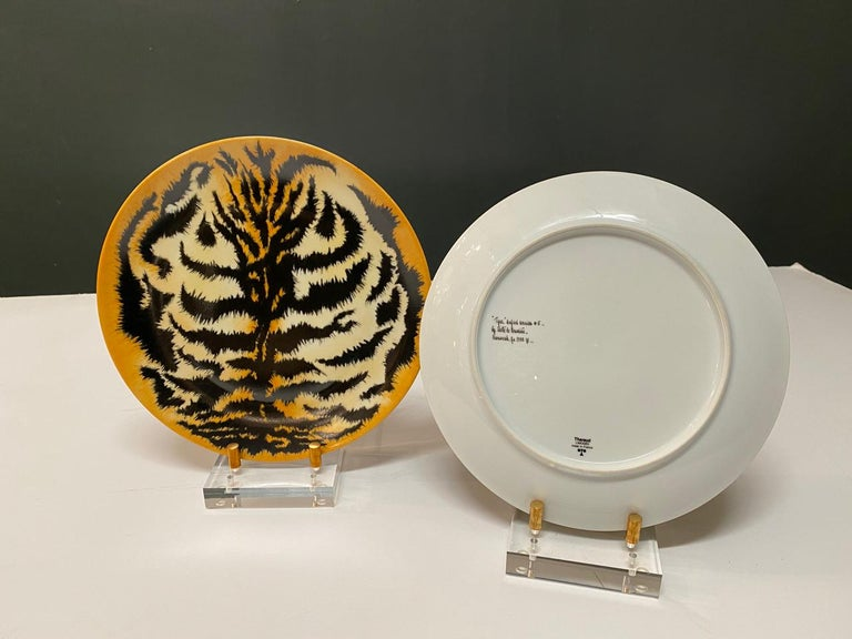American Hand Painted Tiger Plates, Set of 9 For Sale