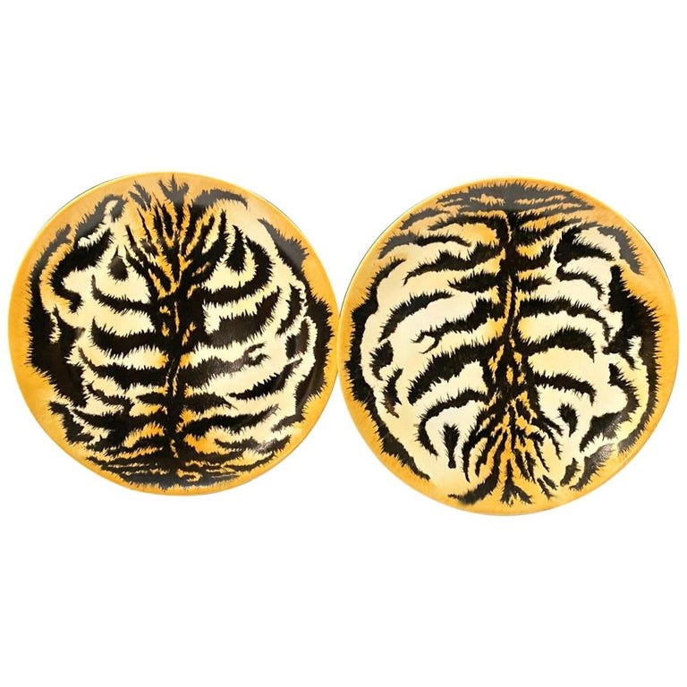 Hand Painted Tiger Plates, Set of 9 For Sale