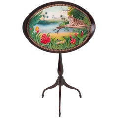 Hand Painted Tilt-Top Table Oval Tray Occasional Table w/ Stormy Mahogany Finish