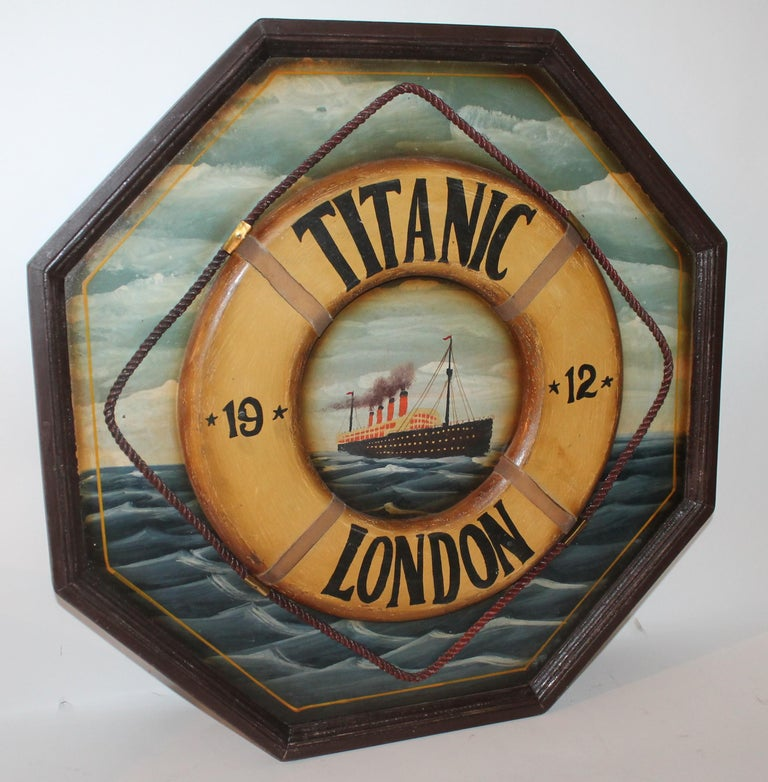 Folk Art Hand Painted Titanic Trade Sign, 1912 For Sale