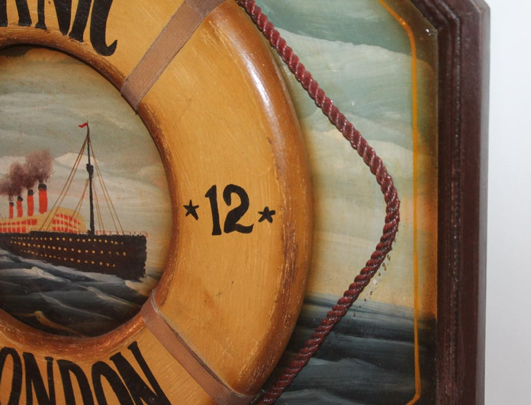 Hand Painted Titanic Trade Sign, 1912 In Good Condition For Sale In Los Angeles, CA
