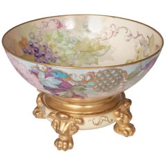 Hand Painted Two-Piece Footed Porcelain Pouyat Limoges Punch Bowl