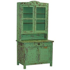 Hand Painted Victorian Distressed Green Dresser Bookcase or Kitchen Cupboard