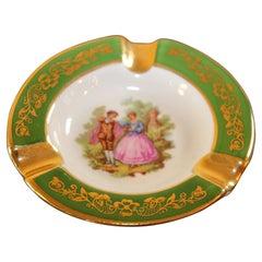 Hand-Painted Vintage Limoges France Round Porcelain Ashtray