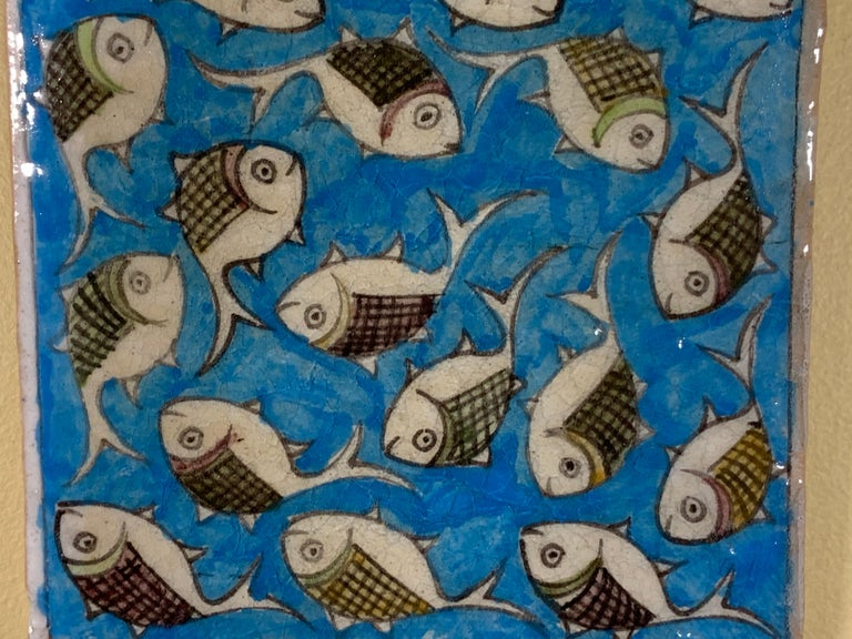 Turkish Hand Painted Vintage Ceramic Tile Wall Hanging For Sale