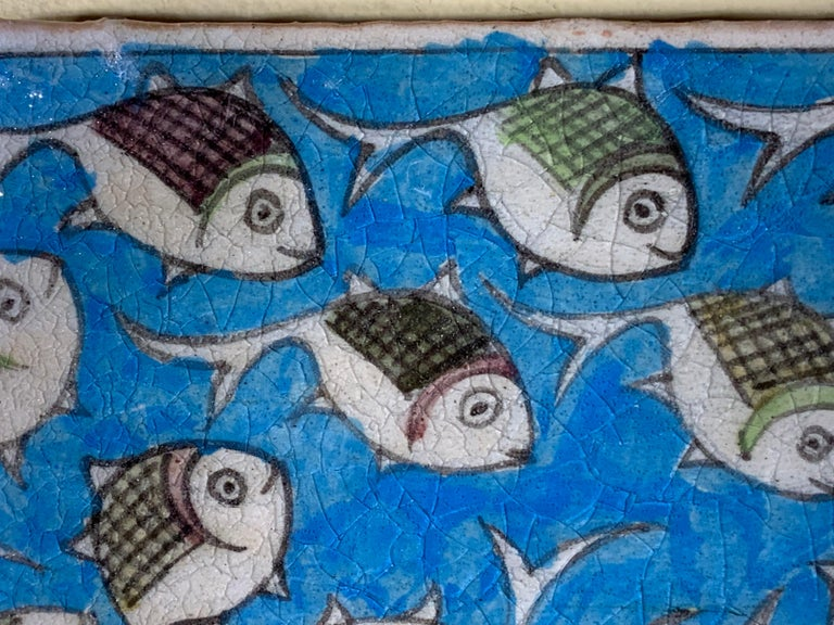 Hand Painted Vintage Ceramic Tile Wall Hanging In Good Condition For Sale In Delray Beach, FL