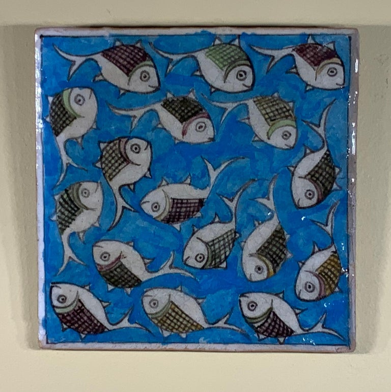 Hand Painted Vintage Ceramic Tile Wall Hanging For Sale 2