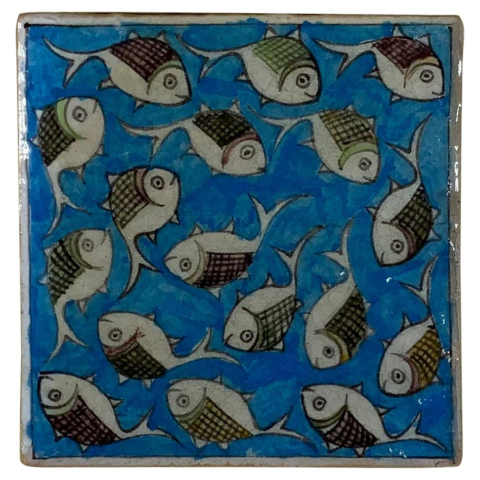 Hand Painted Vintage Ceramic Tile Wall Hanging