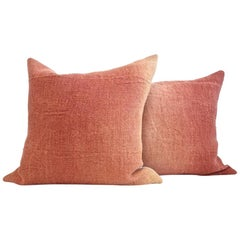 Hand Painted Vintage Linen and Hemp Large Pillow in Orange Tones, in Stock