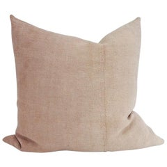 Hand Painted Vintage Linen and Hemp Large Pillow in Tan Tones, in Stock
