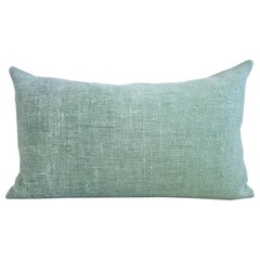 Hand Painted Vintage Linen & Hemp Medium Pillow in Aqua Tones