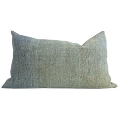 Hand Painted Vintage Linen and Hemp Small Pillow in Green Tones, in Stock