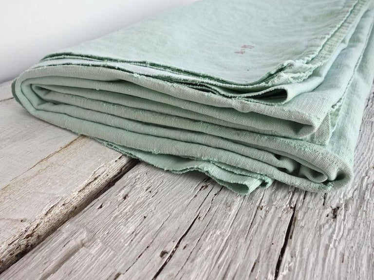 Hand Painted Vintage Linen Throw in Aqua Tones For Sale 3