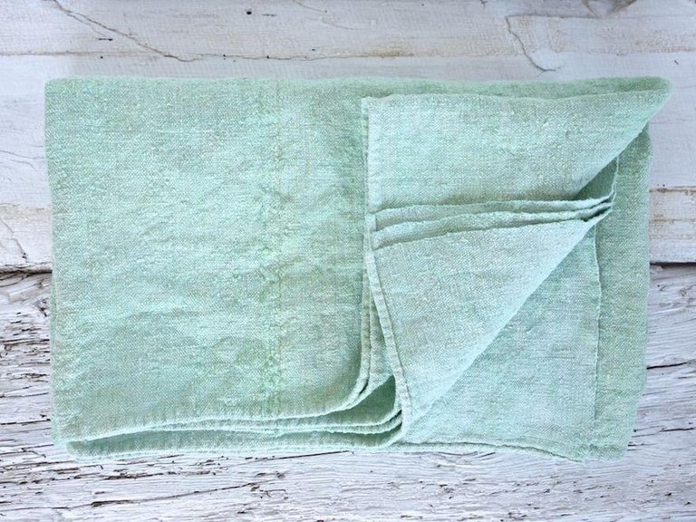 Organic Modern Hand Painted Vintage Linen Throw in Aqua Tones For Sale