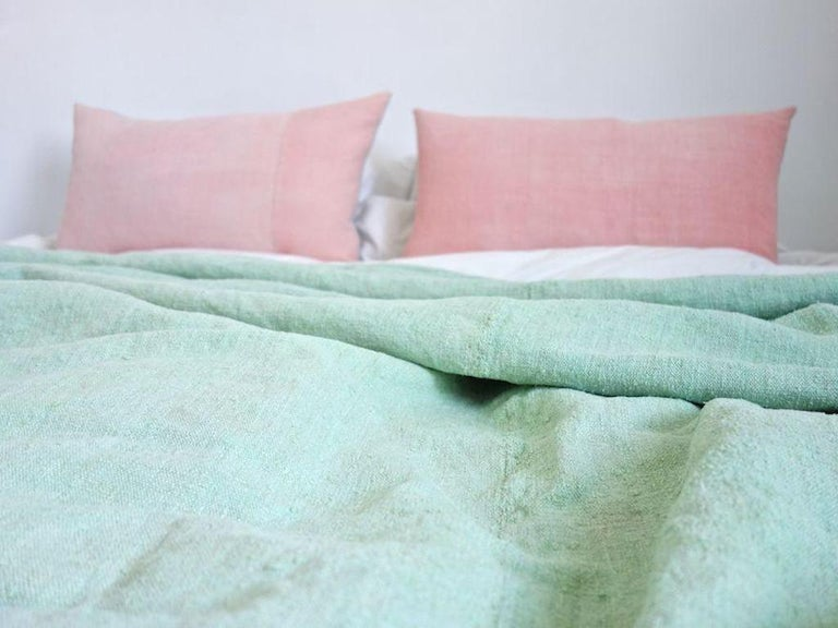 Spanish Hand Painted Vintage Linen Throw in Aqua Tones For Sale