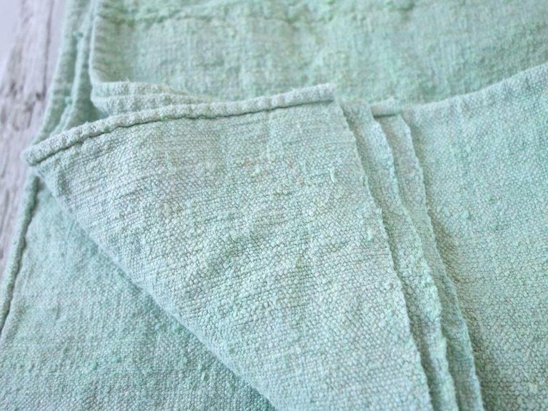 Hand-Painted Hand Painted Vintage Linen Throw in Aqua Tones For Sale