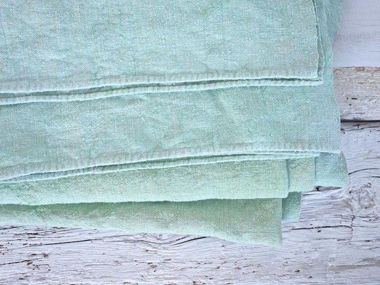 Hand Painted Vintage Linen Throw in Aqua Tones In New Condition For Sale In West Hollywood, CA