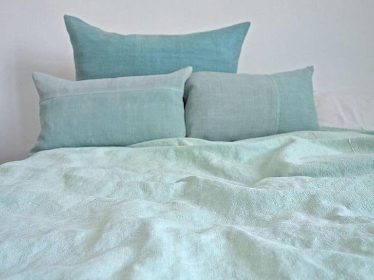 Contemporary Hand Painted Vintage Linen Throw in Aqua Tones For Sale