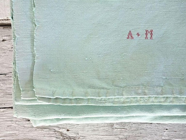 Hand Painted Vintage Linen Throw in Aqua Tones For Sale 1