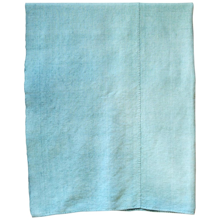 Hand Painted Vintage Linen Throw in Aqua Tones For Sale