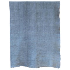 Hand Painted Vintage Linen Throw in Blue Tones, in Stock