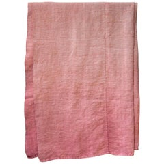 Hand Painted Vintage Linen Throw in Pink Tones, in Stock