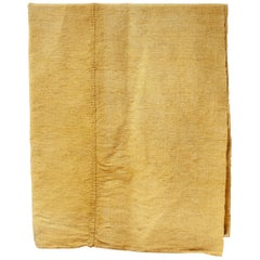 Hand Painted Vintage Linen Throw in Yellow Tones, in Stock