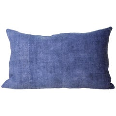 Hand Painted Vintage Loomed Linen Medium Pillow in Blue Tones, in Stock