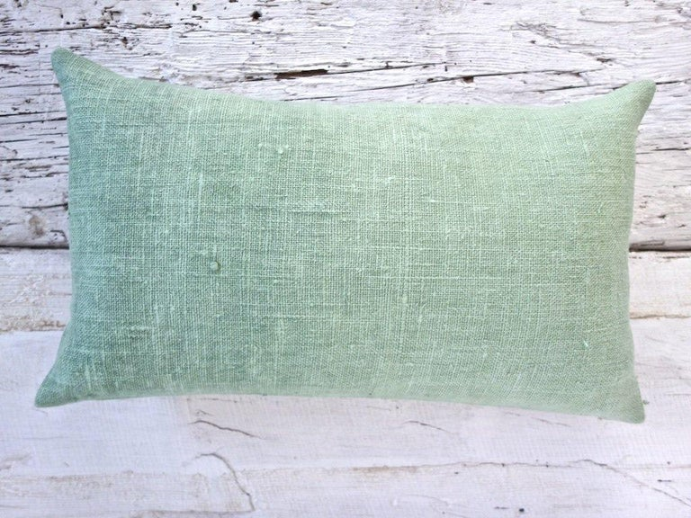 Organic Modern Hand Painted Vintage Loomed Linen Small Pillow in Aqua Tones, in Stock For Sale