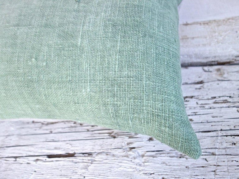 Spanish Hand Painted Vintage Loomed Linen Small Pillow in Aqua Tones, in Stock For Sale