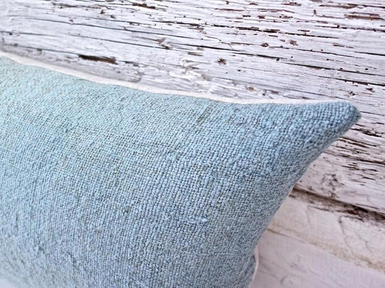 Contemporary Hand Painted Vintage Loomed Linen Small Pillow in Aqua Tones, in Stock For Sale