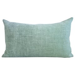 Hand Painted Vintage Loomed Linen Small Pillow in Aqua Tones, in Stock