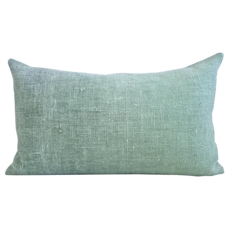 Hand Painted Vintage Loomed Linen Small Pillow in Aqua Tones, in Stock For Sale