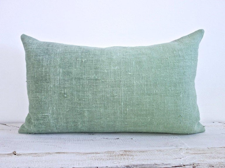 Hand-Painted Hand Painted Vintage Loomed Linen Square Pillow in Aqua Tones, in Stock For Sale