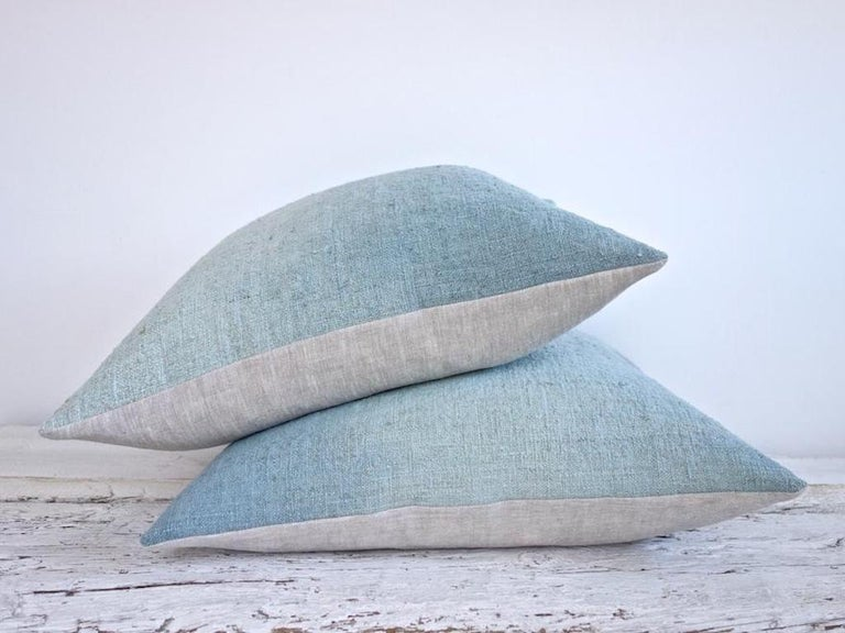 Hand Painted Vintage Loomed Linen Square Pillow in Aqua Tones, in Stock In New Condition For Sale In West Hollywood, CA