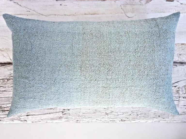 Hand Painted Vintage Loomed Linen Square Pillow in Aqua Tones, in Stock For Sale 1