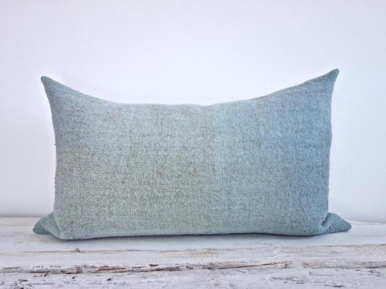 Hand Painted Vintage Loomed Linen Square Pillow in Aqua Tones, in Stock For Sale 2