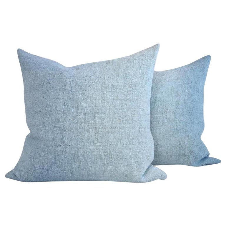 Hand Painted Vintage Loomed Linen Square Pillow in Aqua Tones, in Stock For Sale