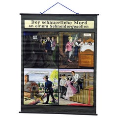 Hand Painted Wall Decoration Chart Depicting the Story of a Murder Ballade