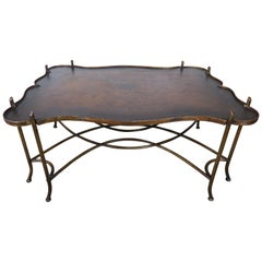 Hand Painted Wood and Metal Coffee Table