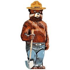Hand Painted Wooden Life-Sized Smokey the Bear