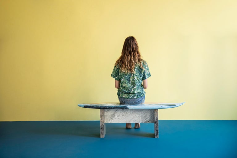 Turkish Hand Painted Wooden Motus Surf Bench with Marble Legs For Sale