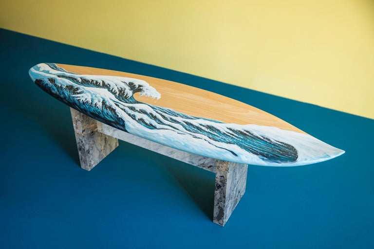 Hand-Crafted Hand Painted Wooden Motus Surf Bench with Marble Legs For Sale