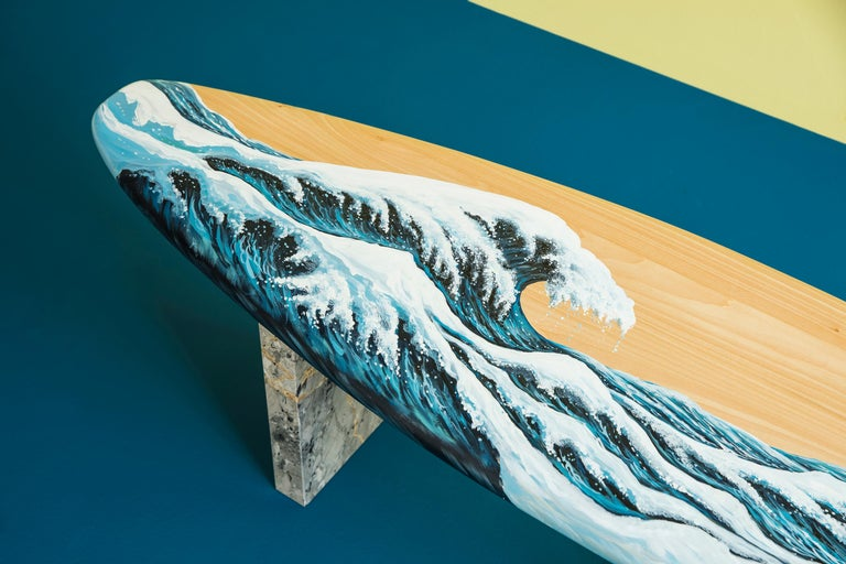 Hand Painted Wooden Motus Surf Bench with Marble Legs In New Condition For Sale In Istanbul, TR